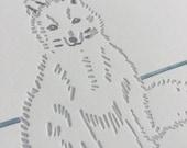 Melrakki arctic fox letterpress print in blue