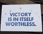 Letterpress Tolkien quote about victory