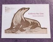 California Sea Lion letterpress print