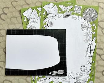 Tiny Treasures stationery set, letter writing paper and envelopes, inktober, illustration, Robayre
