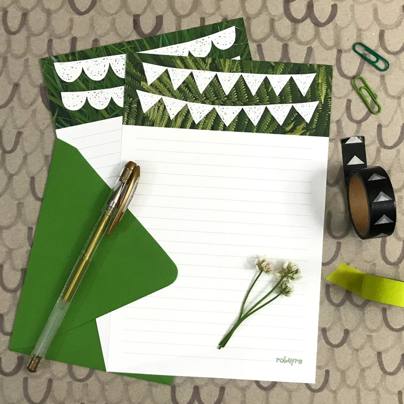 Scribble Banner Bunting Plant Stationery by Robayre image 0