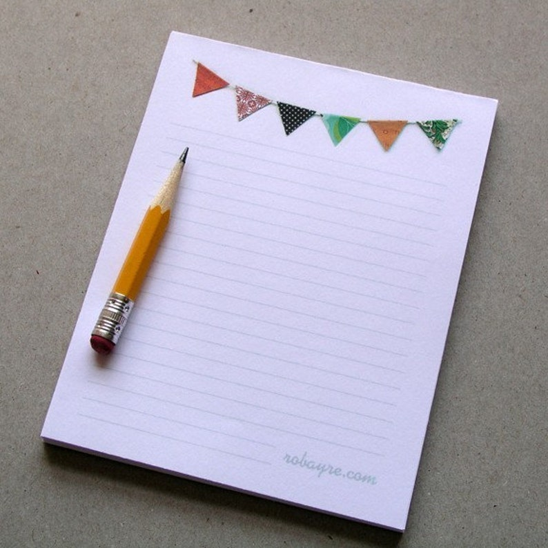 Bunting Notepad Lined Banner Flag Colorful stationery pad image 0