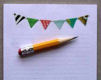 Bunting Notepad Lined Banner Flag Colorful stationery pad