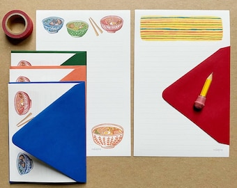 Ramen Illustration Stationery Paper Set, letter writing paper and envelopes by Robayre