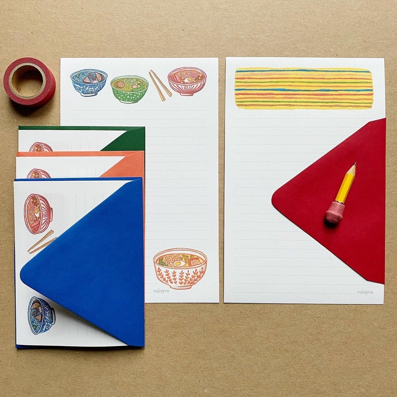 Ramen Illustration Stationery Paper Set letter writing paper image 0