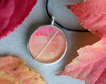 Leaf necklace, nature jewelry, pink orange yellow leaves