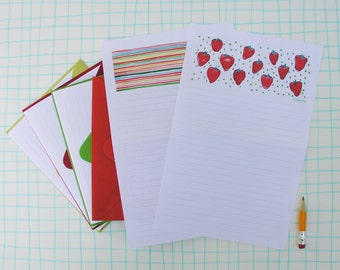 Red Strawberry Stationery Paper Set, lined letter writing paper, illustrated watercolor by Robayre