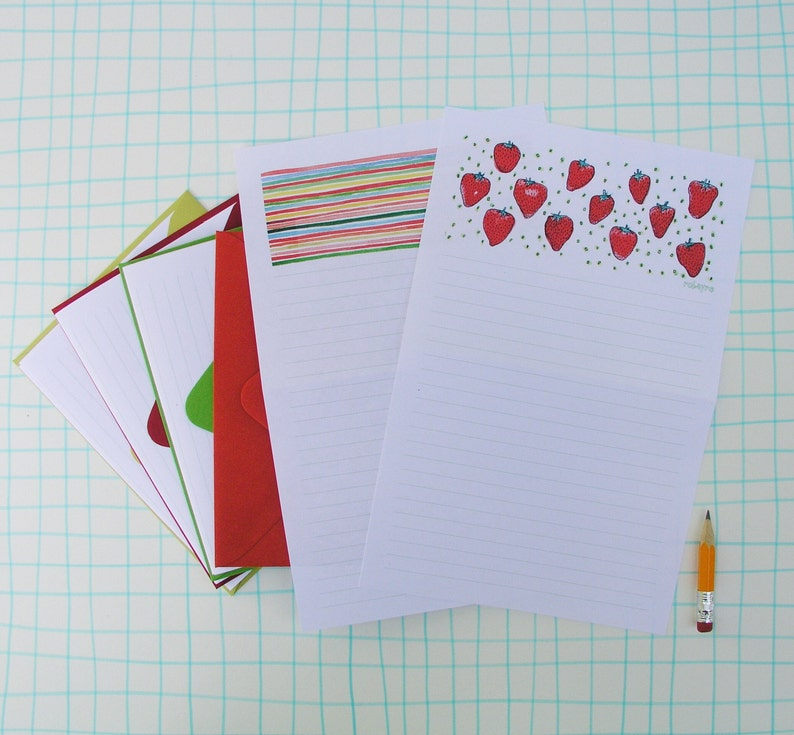 Red Strawberry Stationery Paper Set lined letter writing image 0