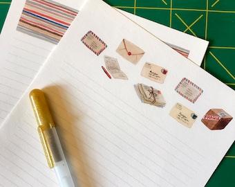 Vintage Mail Watercolor Stationery Paper Set, postal illustration, letter writing paper
