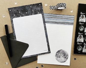 Watercolor stars and moon letter writing paper and envelope set by Robayre