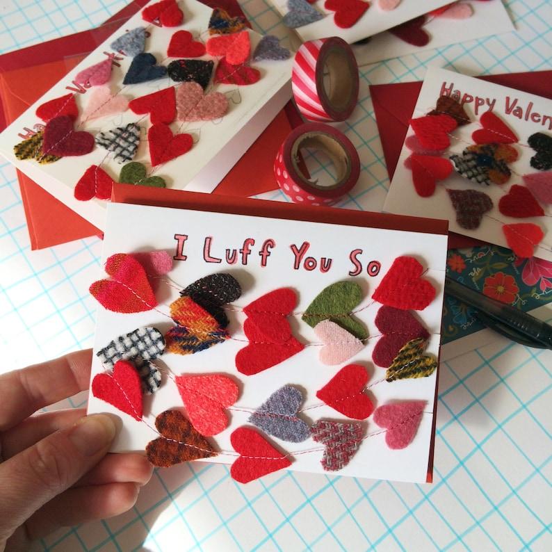 Valentine Card Felt Heart Garland Keepsake Luff You image 0