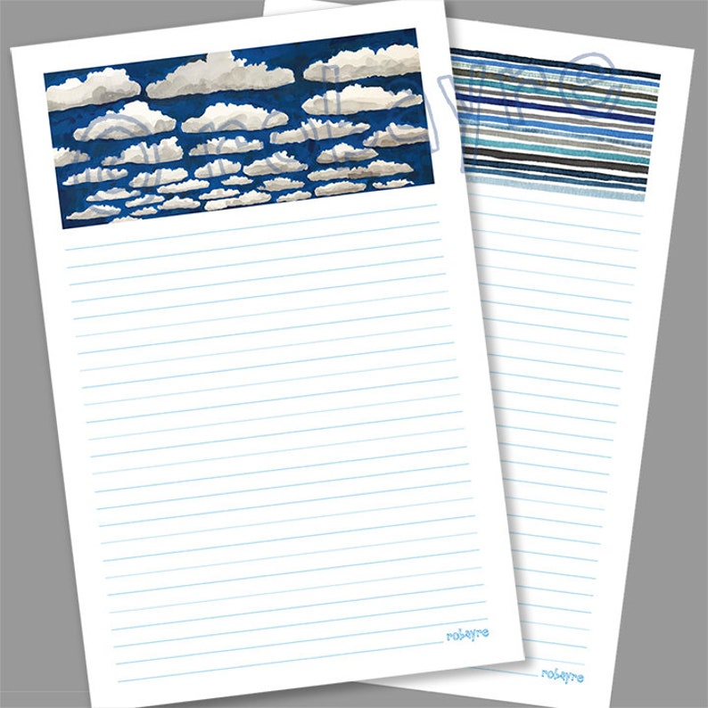 Blue Cloud Sky stationery Printable Download lined note image 0