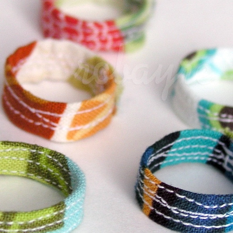 3 Quilted Fabric Rings image 0