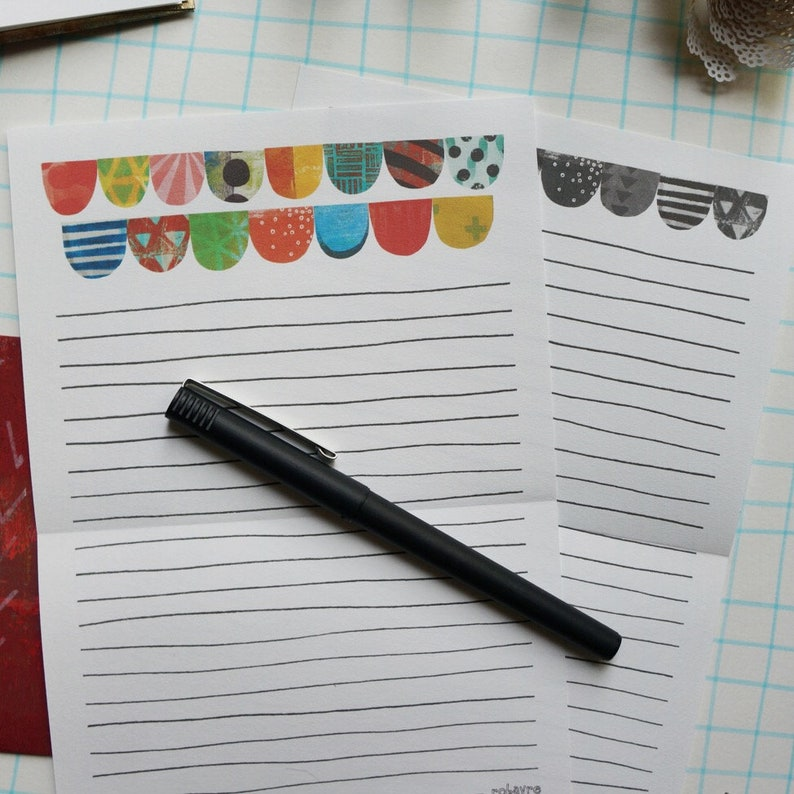 Printable Download Scallop Collage stationery lined note paper image 0
