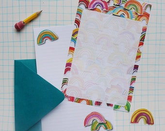 Rainbow Stationery Paper Set, watercolor lined letter writing paper and stickers