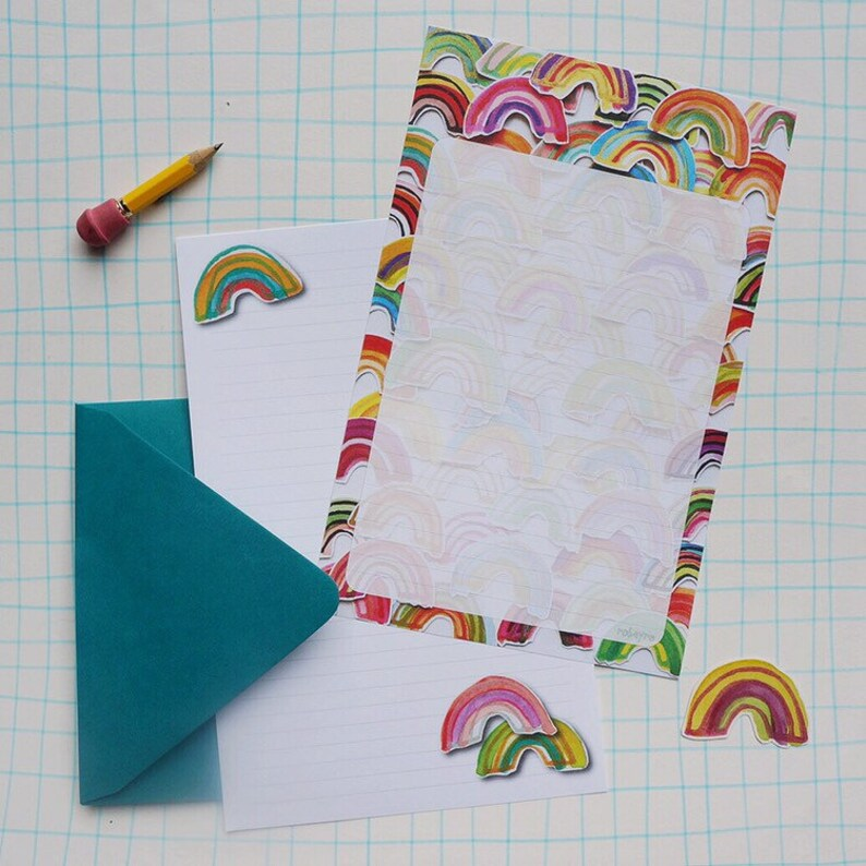 Rainbow Stationery Paper Set watercolor lined letter writing image 0