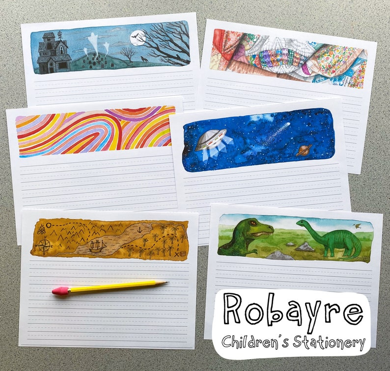 Printable Download Kids Stationery Set Illustrated Watercolors image 0