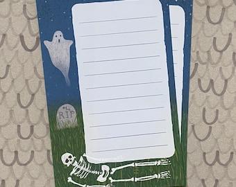 Printable Download Skeleton Ghost Graveyard Stationery sheet by Robayre