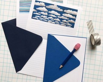 Cloud Painting Stationery Paper Set, blue sky, writing paper and envelopes