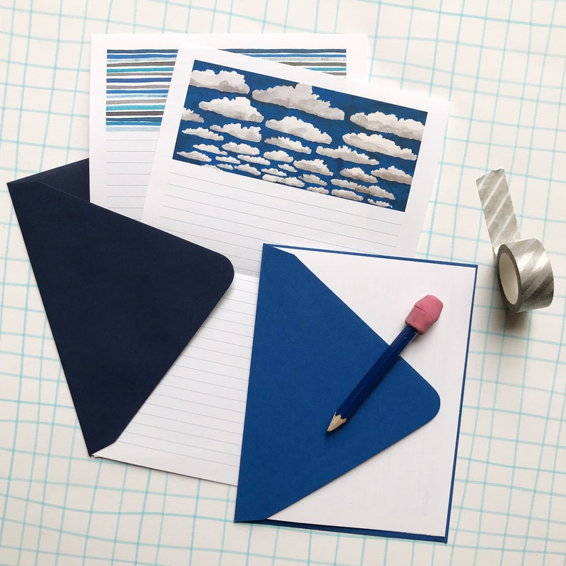 Cloud Painting Stationery Paper Set blue sky writing paper image 0