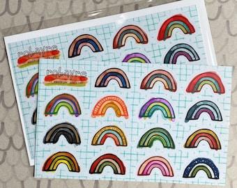 Robayre Rainbow Sticker sheet, 15 rainbow stickers, weatherproof sturdy vinyl stickers