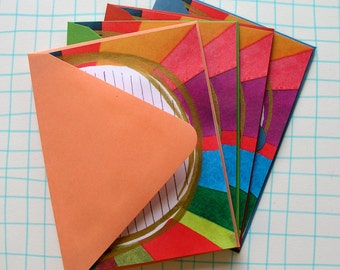 Rainbow Watercolor Silk Screened Gold Swoosh Letter Writing Paper and Envelopes