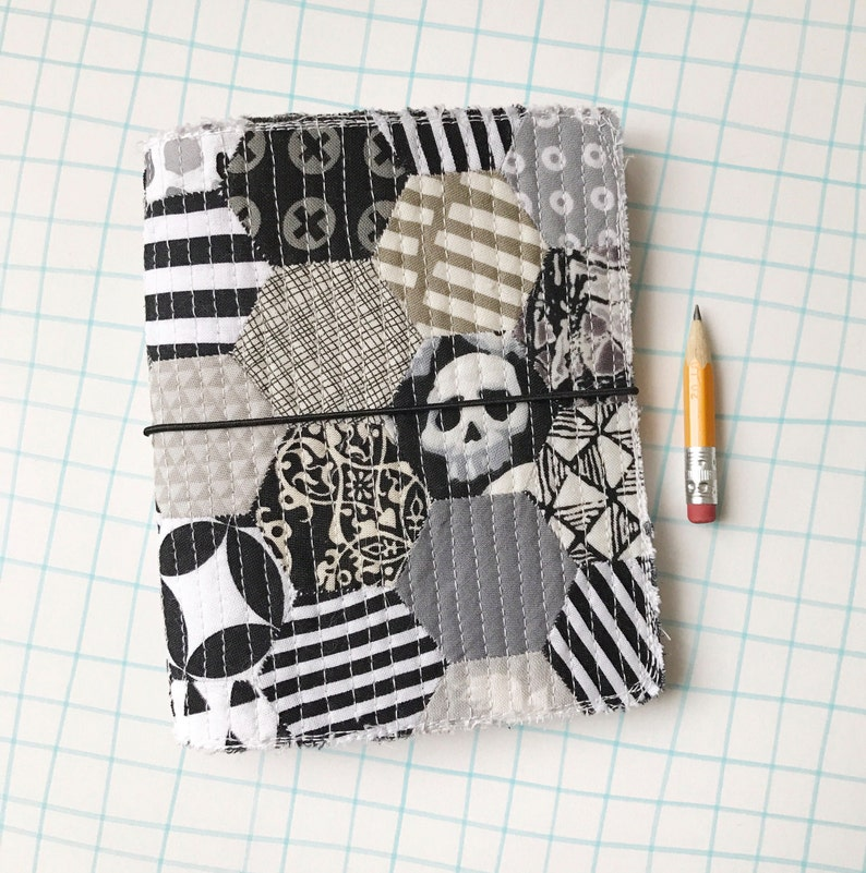 Quilted journal cover fauxdori black and white skulls image 0