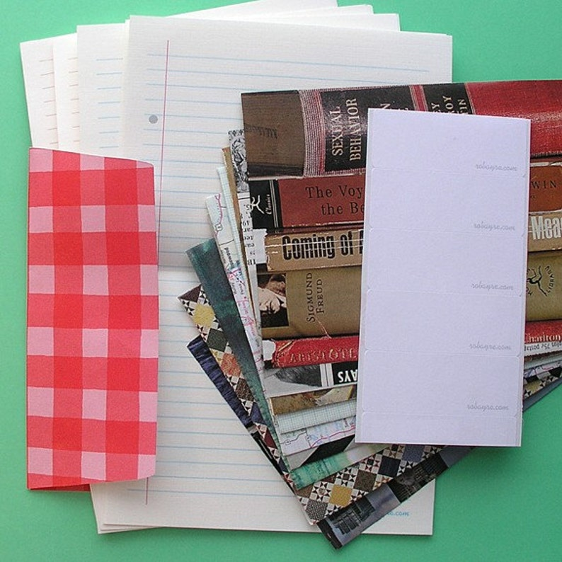 Lined Stationery Paper and Recycled Envelope Set Penpal image 0