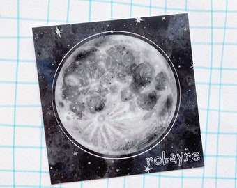 3 inch Moon Sticker vinyl decal kisscut Luna Selene Stella robayre