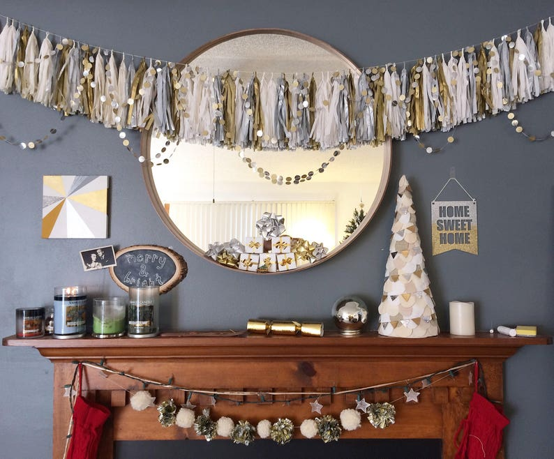 Original Gold and Silver Party Garland String of Circles image 0