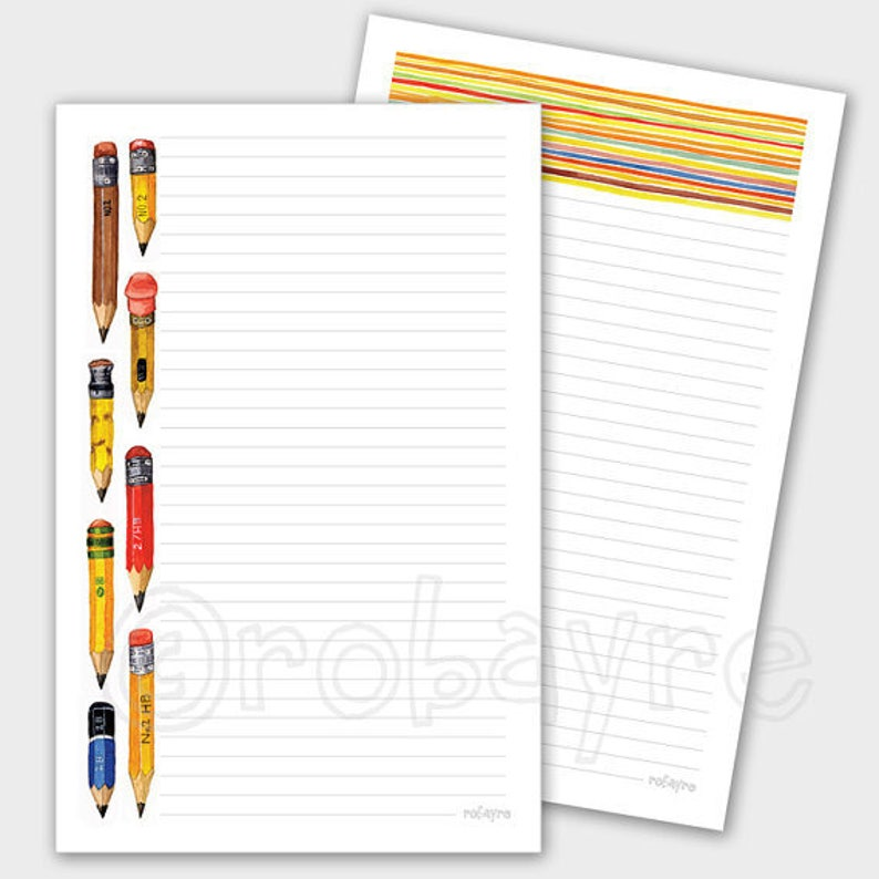 Printable Download Little Pencil Stationery lined note paper image 0