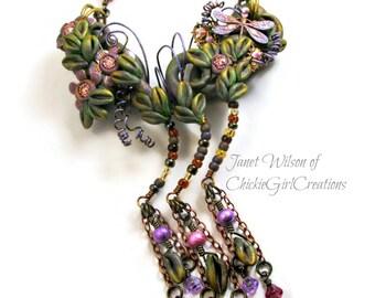 Secret Garden Statement Necklace - Dragonfly Flowers - Polymer Clay Boho Cottage Chic Gypsy Hippie - Green Pink Purple