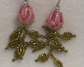 SALE Beadwoven Pink Glass Flower Bead Earrings