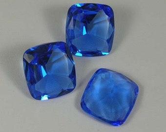 Vintage Sapphire Blue Glass Cabochon 25 x 20mm