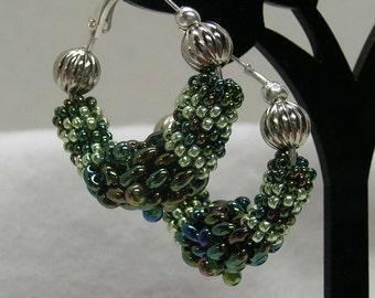 Beadwoven Tubular Blue Green Earrings