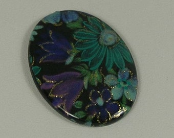 Purple and Blue Floral Pattern Over a Black Acrylic Cab