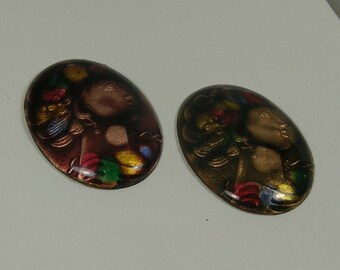 Enamel Over Metal Cameos in Two Colors 30 x 40mm