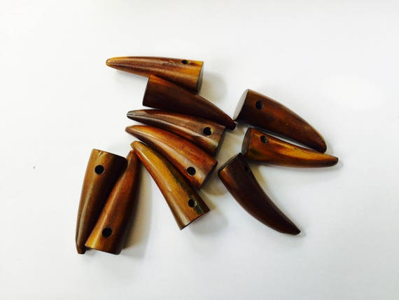 10 Genuine Horn Buttons Lightish medium size approx 20mm
