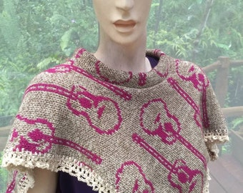 Women's poncho with guitars, small knit poncho, festival wear, Hippie chic clothing, ooak knitwear for women, camel cotton poncho boho style