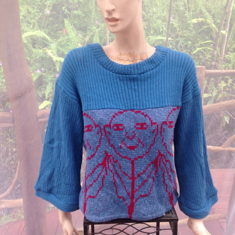 handmade flower faces loose fit top with wide sleeves flowered top Cotton womens sweater in denim blue ribbed knit cotton pullover ML