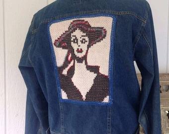 Womens Jean jacket size 10, embellished upcycled denim jacket with face, medium large jacket
