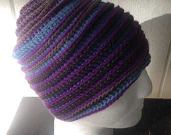 Unisex beanie crochet hat in blue with purple and brown wool and cotton cap, hats are great gifts and stocking stuffers