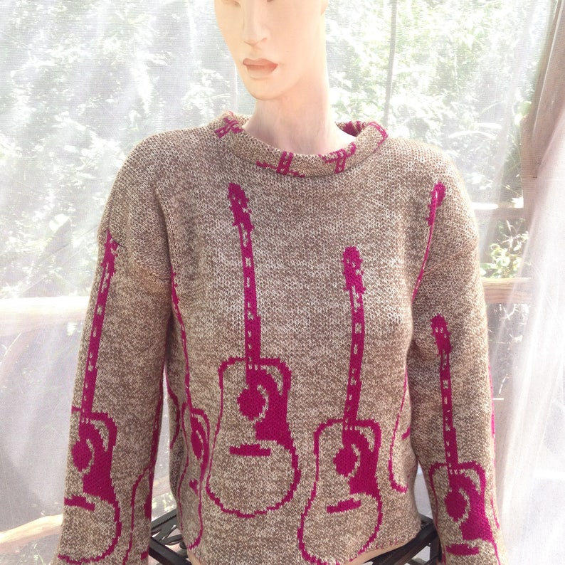 c8d4898a5 Knit sweater with guitars S M cotton cashmere sweater one of