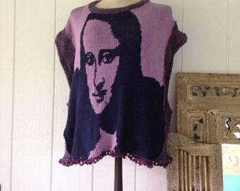 One size Large poncho cape with Mona Lisa image, sleeveless sweater, hippie poncho with Mona Lisa smile, gift her, READY TO SHIP boho style