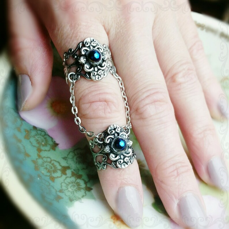 Double Armor Ring Gothic Filigree With Black Rainbow Glass image 0