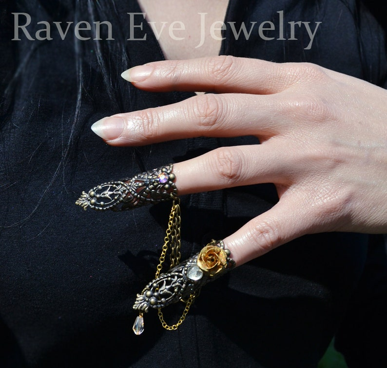Nail Rings Goblin Queen Fierce Brass Filigree Jeweled Nail image 0