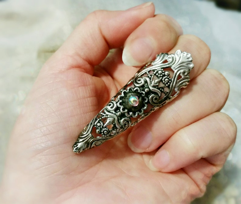 Filigree Nail Tip Claw Ring Fierce Gothic Elven Armor One image 0