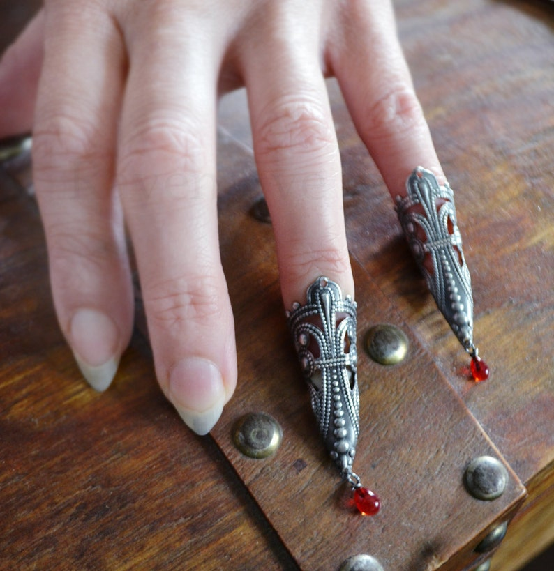 SALE Nail Rings Vampire Princess Fierce Filigree Armor Claw image 0