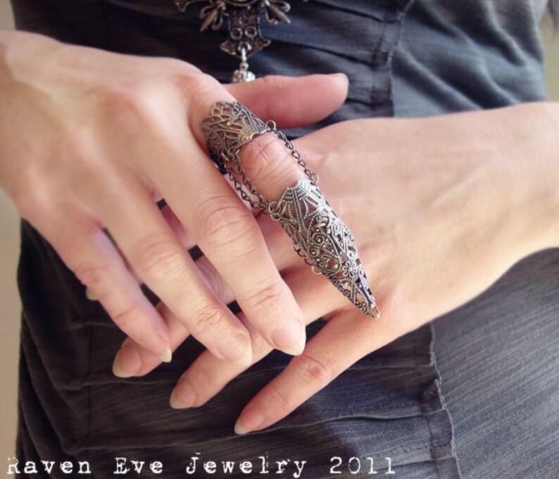 Dagon Full Finger Armor  Ring Gothic Flourish Filigree One image 0