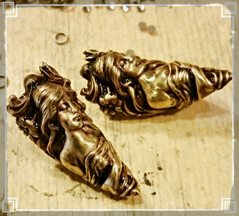 Nail Ring Armor Ring Nail tip jewelry Art Nouveau Maiden image 0
